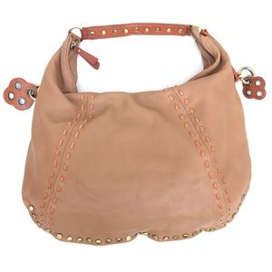 ISABELLA FIORE Tan Leather Gold Studded Hobo Tote